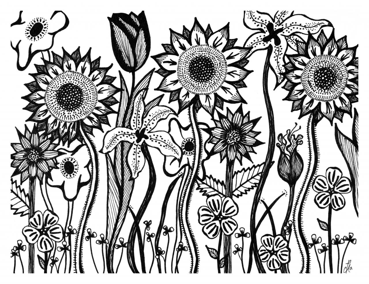 Black Line Flower Drawing : Cross with flowers drawing at getdrawings free for personal